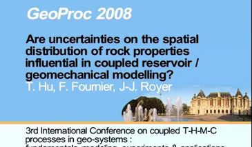 Are uncertainties on the spatial distribution of rock properties influential in coupled reservoir / geomechanical modelling ?